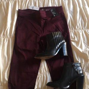 High waist pull-on legging burgundy small New York